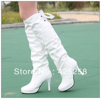 Autumn and winter new arrival high-heeled boots white high-leg boots over-the-knee women's  tall boots