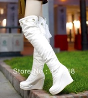 2013 winter boots wedges knee-length boots white snow  tall boots high-heeled platform