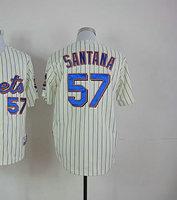 Top quality Cheap Baseball Jersey #57 Johan Santana Cream Cool Base Jersey Men's Size 48-56 All Stitched(Sewn on)