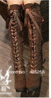 Pig princess wind boots fashion knee-length boots high-heeled boots thick heel lacing