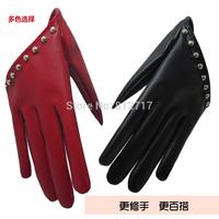Women's PU gulps half gloves fashion winter rivet dance punk cosplay PU gloves ladies gloves S M