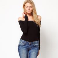 Black knitted haoduoyi slit neckline strapless slim elastic long-sleeve T-shirt basic shirt