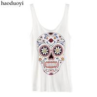 Skull print haoduoyi multicolour slim small vest basic hm2 6 full