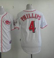 Wholesale Men's Baseball Jerseys #4 Brandon Phillips White Cool Base Jerseys Size 48-56 All Stitched(Sewn on) Mixed Order