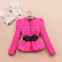With Bow Belt!Winter Woman Coats 2013 Korean Fashion Puff Sleeve High Waist Slim Jacket Short Outwear Thick Down Parka
