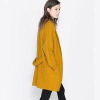 Haoduoyi one button mustard dream overcoat wool belt medium-long outerwear double pocket