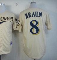 Hot Sale American Men's Baseball Jersey #8 Ryan Braun Cream Cool Base Jersey Size 48-56 Embroidery Logo Jerseys
