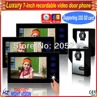 "Free shipping 7""TFT-LCD  wired touch button rainproof recordable colour video intercom doorbell 2V3,night vision,unlocking"