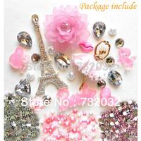 DIY 3D Bling Eiffel Ballet Girl Pearl Rhinestone Flower Resin Flatback Kawaii Cabochon Deco Kit Set for phone iPhone 5s 6 Case