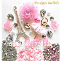 DIY 3D Bling Eiffel BalletGirl Heart Pearl Rhinestone Pink Flower Resin Flatback Kawaii Cabochon Deco Kit Set for Cellphone Case