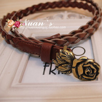 Quality universal agings all-match rose twisted knitted faux women's thin belt