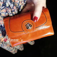 2013 vintage short design small wallet women's genuine leather wallet oil cowhide purse