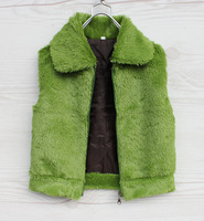 Children's clothing female child 2013 spring green plush vest