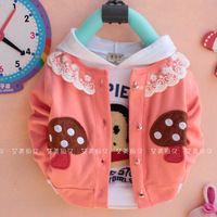 Autumn children's clothing long-sleeve cardigan cotton 100% dd mushroom