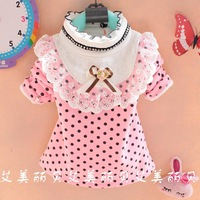 2013 female child children dot laciness velvet blmm basic shirt