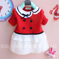 13 autumn female child turn-down collar buckle cardigan long-sleeve T-shirt blmm