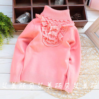 2013 female child neckline lace decoration bow 100% turtleneck cotton sweater jpg8535