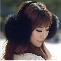 Free shipping +Ultralarge 2015 earmuffs fox fur raccoon fur ear package thermal winter ear muffs
