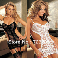 White Black 2014 New Arrival Fashion Women Sexy Babydoll Ladies Transparent  Hollow Out Lingerie Intimates Lowest Price