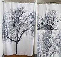 Elegant Scenery Big Black Tree Design Waterproof Bathroom Fabric Shower Curtain