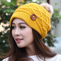 Winter hat female winter knitted hat autumn and winter hat women's thickening warm hat knitted hat