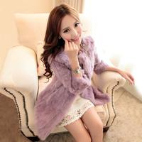 Free shipping + 2013 fur coat rabbit fur medium-long o-neck three quarter sleeve overcoat