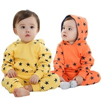Children's clothing 2013 autumn with a hood sweatshirt male female child child casual baby clothes set