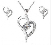 Heart Crystal Jewelry Set CJ21 Christmas Gold Plated Jewelry Set Free Shipping