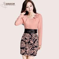 2013 women's ol slim long-sleeve patchwork flower knitted one-piece dress female