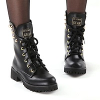 2013 new winter fashion lace boots keep warm boots rivet punk complex