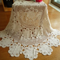 Handmade hook needle crochet  off white table cloth 100%  cotton knitted tablecloth embroidered table cloth round table coffee