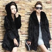 2013 women's domesticated hen outerwear trophonema fashion fur coat medium-long overcoat