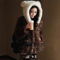 2013 autumn and winter vivi faux hooded overcoat cute ear belt outerwear overcoat
