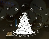 Merry Christmas Decoration Wall Sticker Christms Tree Removable Window Stickers Sliding Glass Door Decor