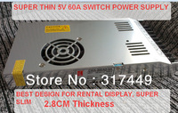 5V 60A 300W AC/DC Super thin ,design for rental display,2.8cm thickness, Switching Power Supply 220v,240v,super slim