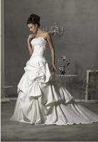 Hot DropShip New Autumn 2014 Fashion Princess Slim Wedding Dress Bridal Satin Short Train Lace Up Wedding Ball Dresses Gowns