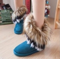 New Korean imitation rabbit fur fox fur snow boots snow warm boots for women's  female models  blue black khaki free shipping