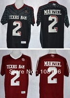 Free Shipping 2013 new Texas A&M Aggies 2# Johnny Manziel 2 College Football Authentic Techfit Jerseys size M~XXXL ,Mix Order,