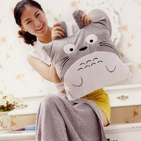Totoro air conditioning blanket hand pillow Christmas gift coral fleece blanket plush toy
