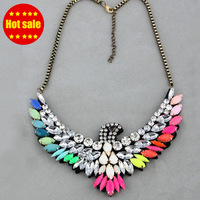 Shourouk necklace  Colorful Eagle Choker Statement Necklace Fashion Jewelry For Women vintage crystal bib luxury chain necklace