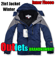Free Shipping Brand New 2in1 mens winter windstopper rainproof windbreaker warm ski jacket + inner fleece coat