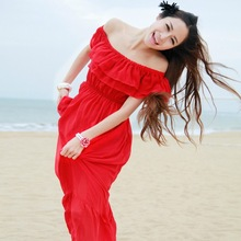 Free Shipping Summer new arrival 2014 bohemia full dress beach dress ruffle collar chiffon one-piece dress(China (Mainland))