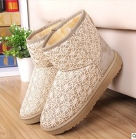 new fashion warm woman flat snow boots for women and women's autumn winter shoes 3colors Eur size 35-40 + free shipping