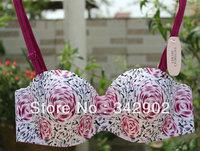 2pcs/lot High Quality New Fashion women's Sexy bra  comfortable bras  Rose print bar Free Shipping