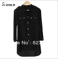 Free Shipping 2013 summer women's long-sleeved chiffon shirt and long sections wild casual shirt female