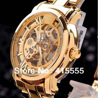 Fashion Luxury Gold Plated Mens Skeleton Mechanical Automatic Wrist Watch Unisex Watch free shipping