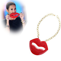 Fashion new red lip necklace Golden chain chunky necklace choker necklaces for women free shipping[JN02015*2]