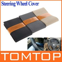 Popular DIY Car Steering Wheel Cover Artificial Leather Hand Sewing with Needle and Thread Black Beige Gray for choice Brand New