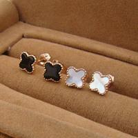 Black / white Soft Enamel  insert nature shell clover 18K rose gold plated titanium stud earrings for women  gold plate gifts