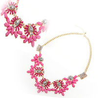 Fashion Rose Flower Style Women Choker Statement Pendant Chain Necklace[JN02016]